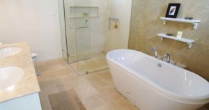 Double Sink Vanity, Dual End Tub, Shower, Bathroom,